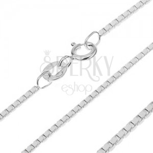 Sterling ezüst nyaklánc - összekapcsolt fényes kockák, 1 mm