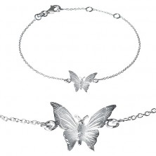 Karkötő 925 ezüstből - gravírozott pillangó finom láncon