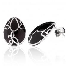 Fülbevaló acélból - díszített fekete könnycsepp