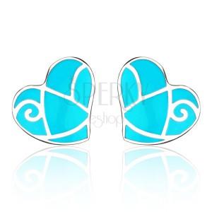 Acél fülbevaló - kék szívecske, fényes sávok