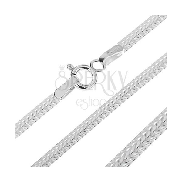 Lapos lánc ezüstből - ferdén kapcsolt V elemek, 3,3 mm