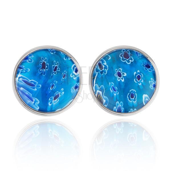 Fülbevaló acélból - kék félgömb üvegből, virágokkal