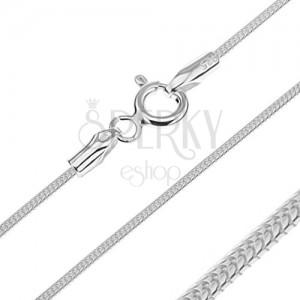 Nyaklánc 925 ezüstből - fényes bordázott kígyó, 1,2 mm
