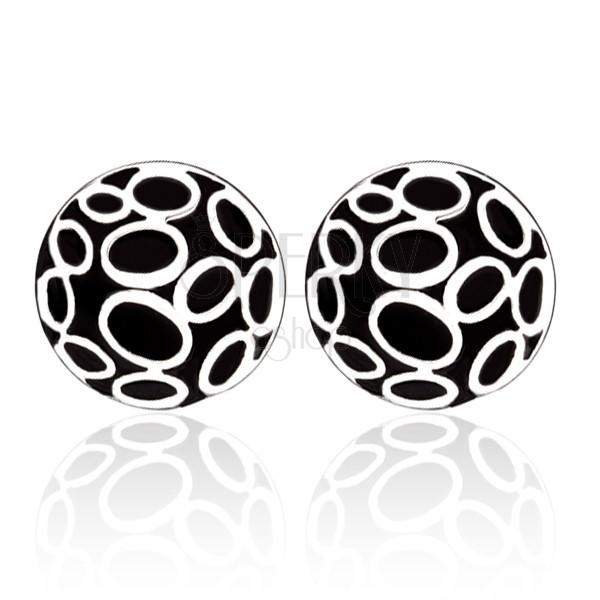 Fülbevaló acélból - fekete körök ovális ezüst díszítéssel