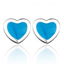 Bedugós szívecske fülbevaló - kék kitöltés