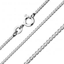 Ezüst nyaklánc - derékszögben kapcsolt rovátkolt kockák, 1,1 mm