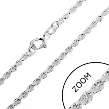 925 ezüst lánc - csiszolt spirál, rugós karika, 2 mm