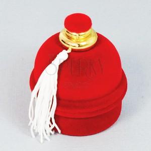 Ajándékdoboz gyűrűnek - piros bársony flakon