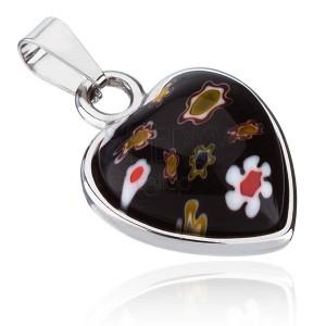 Medál sebészeti acélból - szívecske virágos kővel