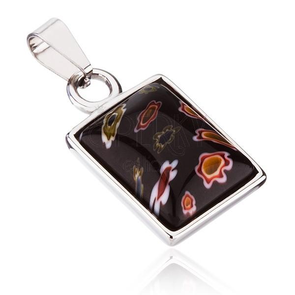 Függő acélból  - téglalap virágos üvegbetéttel