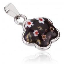 Medál sebészeti acélból - virág virágos kővel