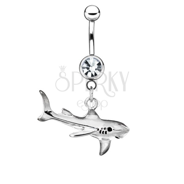 Nemesacél piercing a köldökbe - cápa patinával
