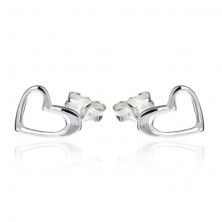 Bedugós ezüst fülbevaló - szabálytalan szívkeret