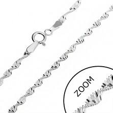 Ezüst nyaklánc - spirál alakba csavart téglalapok, 2 mm