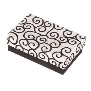 Ajándékdoboz készletnek - fekete és fehér, tekeredett mintázatok
