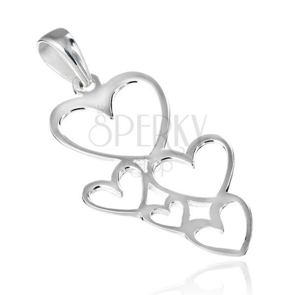 Függő 925 ezüstből - összekapcsolt fényes szívkontúrok