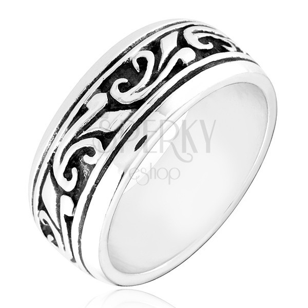 Karikagyűrű ezüstből - vésett ornamentumok