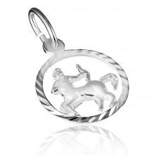 Sterling ezüst medál - Nyilas csillagjegy fényes karikában