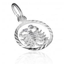 Medál 925-ös ezüstből - díszes karika és skorpió