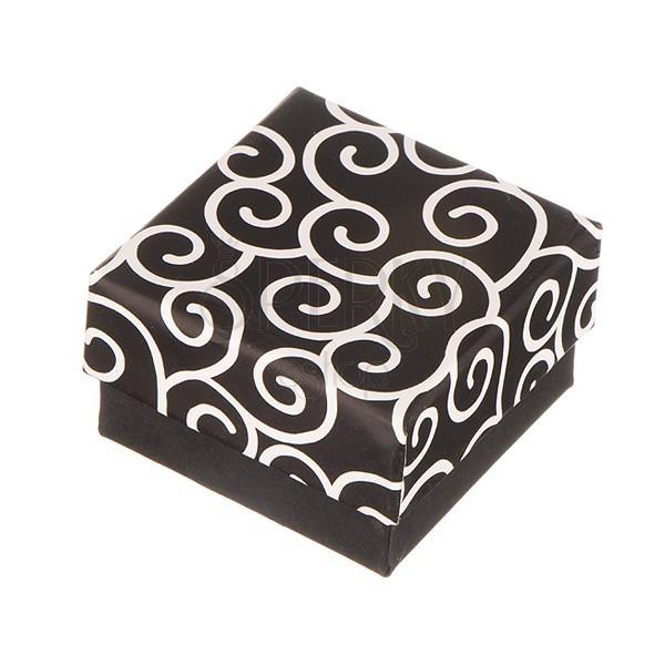 Ajándékdoboz fülbevalóra - fekete, csavart minta