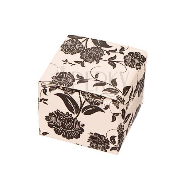 Ajándékdoboz fülbevalónak - fekete virágok bézs alapon