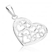 Függő 925 ezüstből - fényes szívecske kivágott mintával
