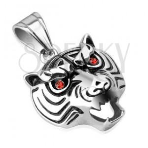 Acél medál - fényes tigrisfej piros szemekkel