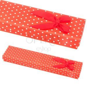 Piros ajándékdoboz karkötőnek - fehér pöttyök és masni