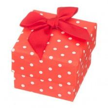 Piros ajándékdoboz - fehér pöttyök, piros masni