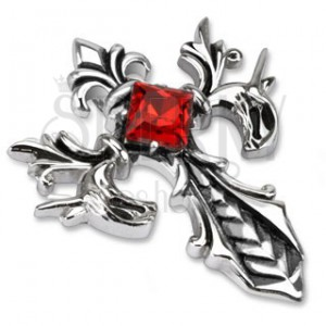 Acélmedál - kereszt királyi liliommal és piros kővel