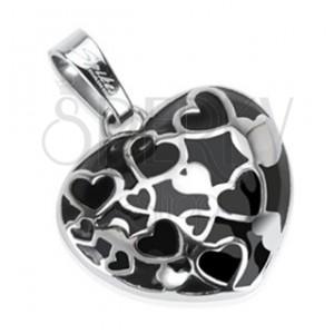 Nemesacél medál - fekete szív kis ezüst szívecskékkel