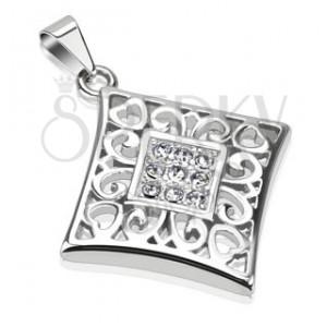 Acélmedál -  vitrázs cirkóniákkal és ornamentumokkal