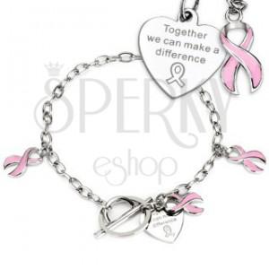 Sebészeti acél karlánc - rózsaszín Remény szalagja és szívecske