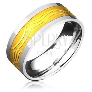 Karikagyűrű acélból, arany-ezüst kombináció, fényes boltívek