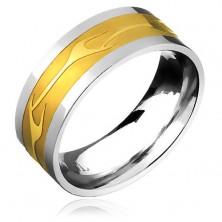 Karikagyűrű sebészeti acélból - arany sáv és fényes szétágazó vonal
