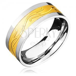 Sebészeti acél gyűrű, arany-ezüst kombináció, hullámos minta