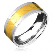 Acél karikagyűrű - arany-ezüst, ferde oválisok