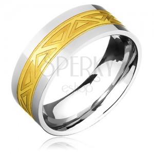 Kétszínű acélgyűrű - arany sáv háromszöges mintával