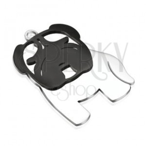 Sebészeti acél medál - fényes fekete-ezüst bulldog