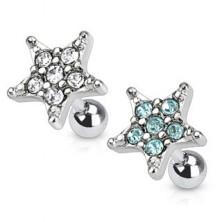 Tragus piercing sebészetni acélból, csillag formájú cirkóniával