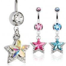 Piercing a köldökbe sebészeti acélból, csillag kövecskékkel