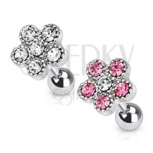 Sebészeti acél fülporc piercing - virág cirkonkövekből