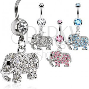 Acél köldök piercing - ragyogó elefánt