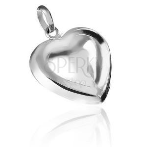 Medál 925 ezüstből - domború kettős szívecske