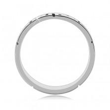 Gyűrű 925 ezüstből - szögletes spirál és kis ablak, antikolt