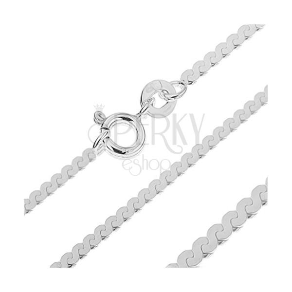Lapos nyaklánc 925 ezüstből - S alakú vonal, 2,3 mm