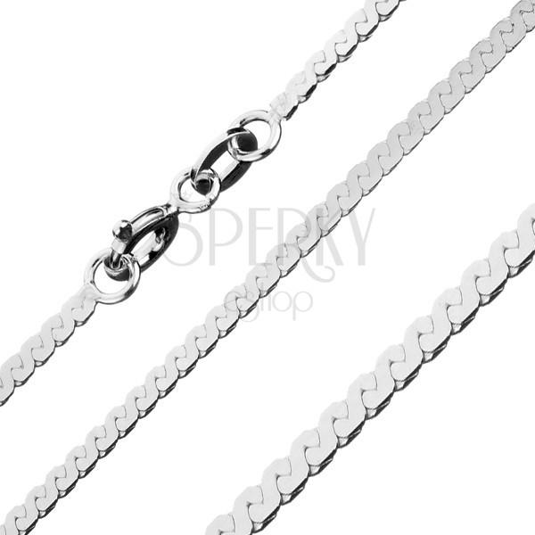 Fényes nyaklánc 925 ezüstből - vonal S alakú elemekből, 1,8 mm