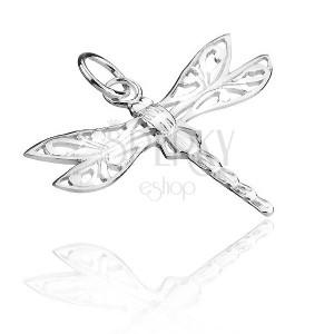 Függő 925 ezüstből - szitakötő csipkés szárnnyal