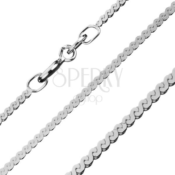 Lapos sterling ezüst lánc - S alakú elemek, 1,5 mm
