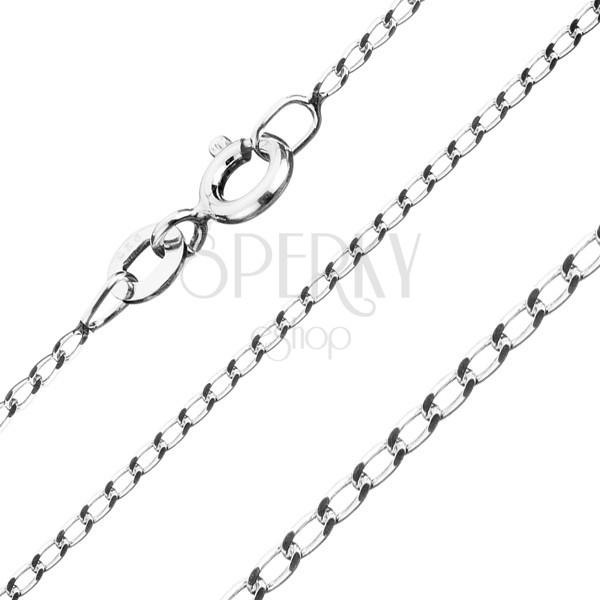 Ezüst nyaklánc - hosszúkás sima szemek, 1,2 mm